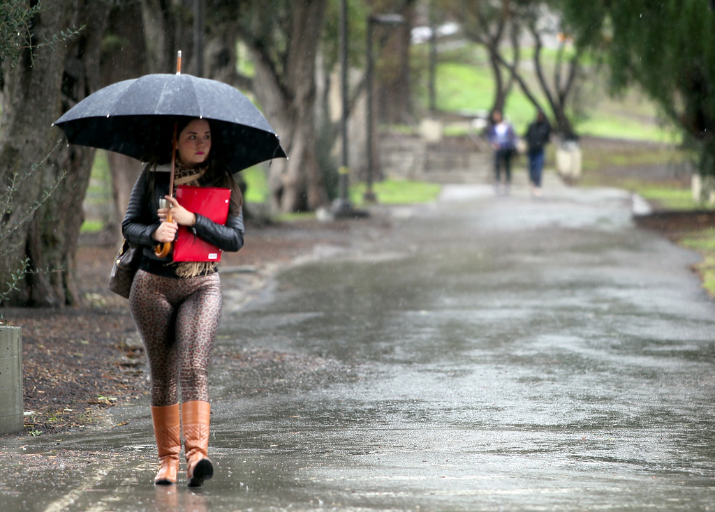 . Anneth Guillen, of Tracy, a student at Ohlone College, walks along a path on a rainy day in Fremont, Calif., Friday, on Feb. 28, 2014. Heavy rains fell across most parts of the Bay Area causing power outages and minor flooding. (Anda Chu/Bay Area News Group)