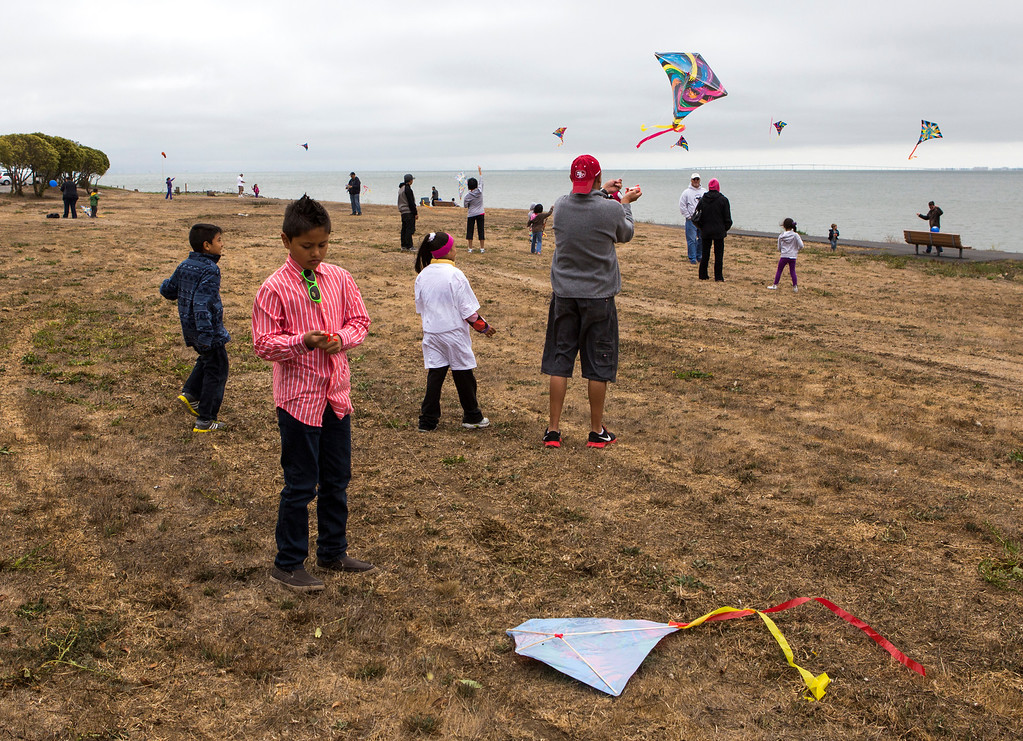 . People fly kites at Oyster Point Marina and Park in South San Francisco. (John Green/Bay Area News Group)
