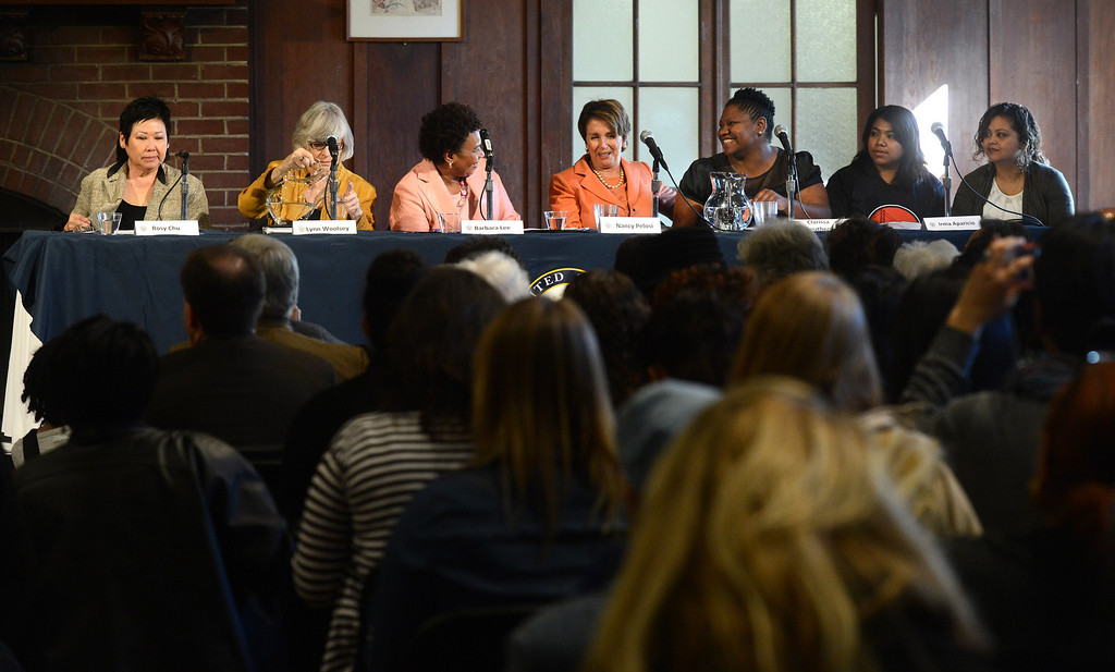 . A panel consisting of Rosy Chu, far left, Congresswoman Lynn Woolsey, Congresswoman Barbara Lee, Congresswoman Nancy Pelosi, Clarissa Doutherd, and Irma Aparicio and her interpreter, far right, participate in a forum on women\'s economic empowerment and unveiling of a commemorative stamp honoring Shirley Chisholm held at Mills College in Oakland, Calif., on Saturday, Feb. 1, 2014. The forum and unveiling featured Mills alum Congresswoman Barbara Lee and Congresswoman Nancy Pelosi, among others. Shirley Chisholm was the first African American elected to Congress. (Dan Honda/Bay Area News Group)