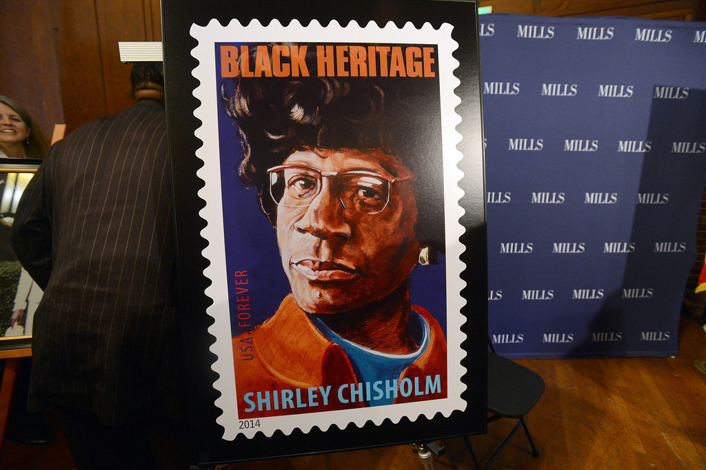 . A poster of the new Shirley Chisholm stamp photographed at a forum on women\'s economic empowerment and  unveiling of a commemorative stamp honoring Shirley Chisholm held at Mills College in Oakland, Calif., on Saturday, Feb. 1, 2014. The forum and unveiling featured Mills alum Congresswoman Barbara Lee and Congresswoman Nancy Pelosi, among others. Shirley Chisholm was the first African American elected to Congress. (Dan Honda/Bay Area News Group)