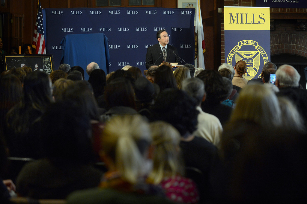 . Daryl Trujillo, Oakland Postmaster, speaks at a forum on women\'s economic empowerment and unveiling of a commemorative stamp honoring Shirley Chisholm held at Mills College in Oakland, Calif., on Saturday, Feb. 1, 2014. The forum and unveiling featured Mills alum Congresswoman Barbara Lee and Congresswoman Nancy Pelosi, among others. Shirley Chisholm was the first African American elected to Congress. (Dan Honda/Bay Area News Group)