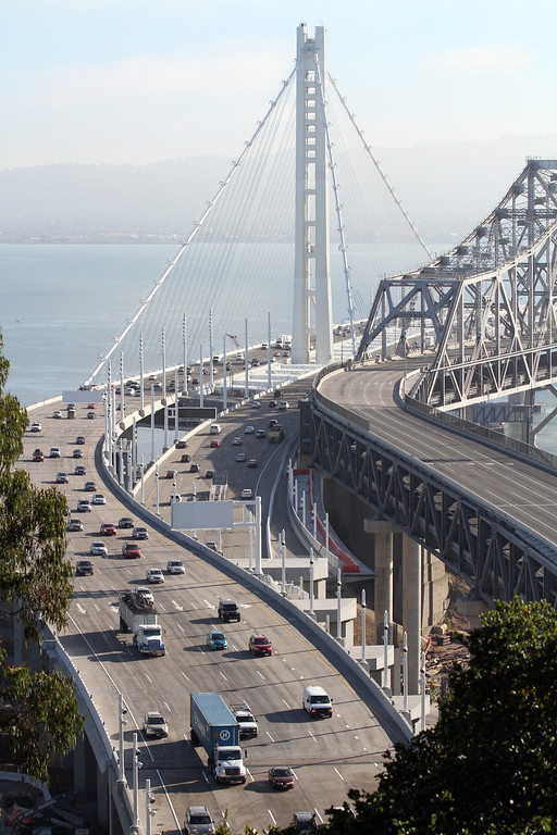 . The Bay Bridge is open for the morning commute in Oakland, Calif., Tuesday, Sept. 3, 2013. (Laura A. Oda/Bay Area News Group)