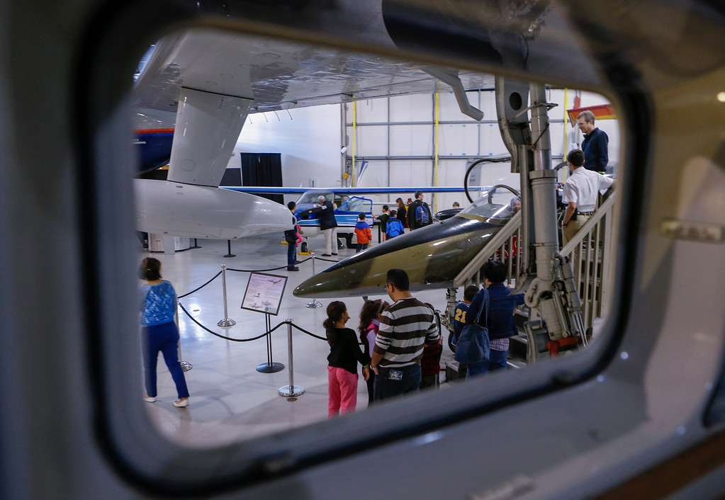 . People got a chance to sit in the cockpit of many of the aircraft at the Hiller Aviation Museum in San Carlos, Calif., on Saturday, Jan. 4, 2013.  (John Green/Bay Area News Group)