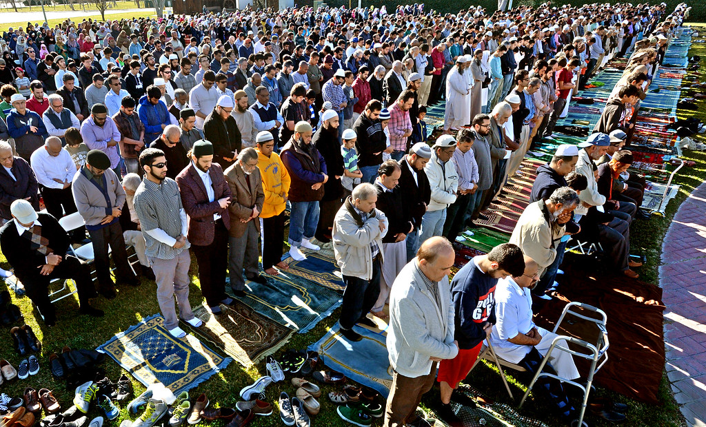 """. Part of the large group from the Muslim community taking part in a \""""Salatul Istisqa\"""" a prayer for rain held at the Alameda County Fairgrounds in Pleasanton, Calif., on Saturday, Feb. 1, 2014. Because of California\'s on going drought a prayer for rain was held by the San Francisco Bay Area chapter of the Council on American-Islamic Relations. (Doug Duran/Bay Area News Group)"""