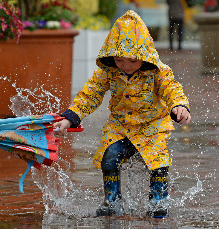 . Wyatt Webb, 3, of San Gabriel, jumps into a puddle of water while walking in downtown Walnut Creek, Calif., on Saturday, Feb. 8, 2014. Webb was in town visiting his grandparents. (Jose Carlos Fajardo/Bay Area News Group)