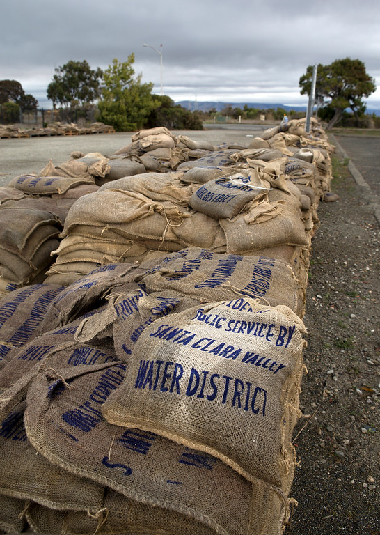 . Sandbags are available near the Baylands Nature Preserve in Palo Alto, Calif., on Saturday., Feb.8, 2014.   (LiPo Ching/Bay Area News Group)