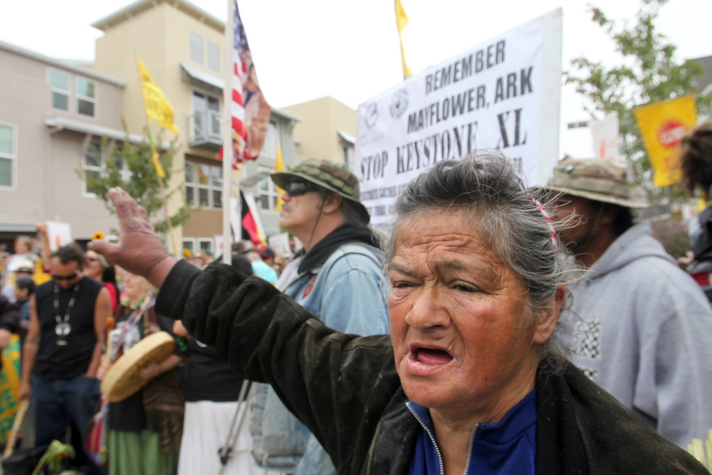 . About 500 demonstrators take part in a rally against Chevron refinery at Richmond BART station in Richmond, Calif., on Saturday, Aug. 3, 2013. The rally followed with a march to the Chevron refinery. (Ray Chavez/Bay Area News Group)