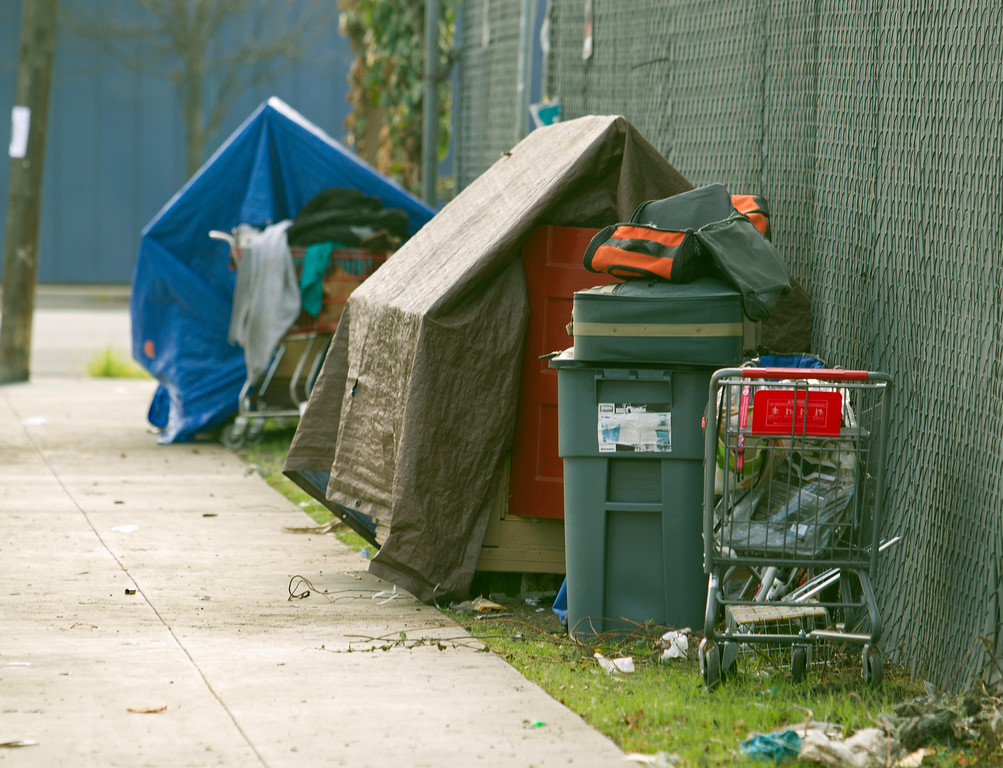 . Two of the rolling shelters built by Greg Kloehn, who takes discarded trash and converts it into living spaces for homeless people in his west Oakland, Calif. neighborhood, photographed Tuesday, Dec. 31, 2013. (D. Ross Cameron/Bay Area News Group)