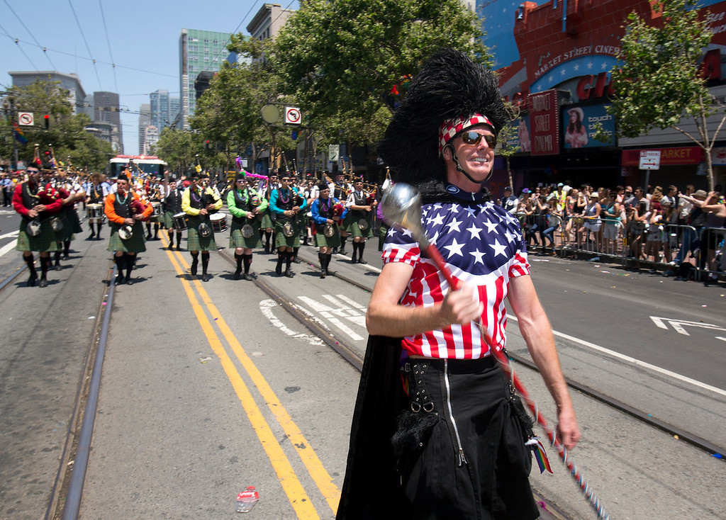 . The Irish Pipers Band of San Francisco march along Market Street at the 43rd annual San Francisco Pride Parade, Sunday, June 30, 2013, in San Francisco, Calif. (D. Ross Cameron/Bay Area News Group)