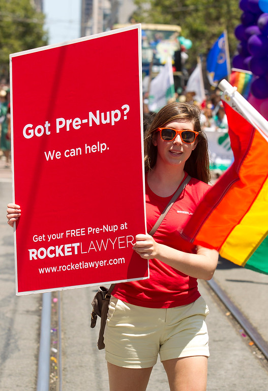 . A San Francisco law firm wastes no time taking the romance out of same-sex marriage at the 43rd annual San Francisco Pride Parade, Sunday, June 30, 2013, in San Francisco, Calif. (D. Ross Cameron/Bay Area News Group)