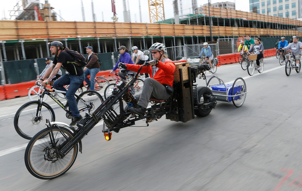 ". Cat Woodmansee, of San Jose, rides the 48-volt electrically assisted ""Black Bird\"" during a bike ride in San Jose, Calif., on Sunday, March 9, 2014. Dublin Lord Mayor Oisín Quinn joined cyclists on a seven-mile bicycle ride through the city as part of San Jose-Dublin Sister City Program festivities. Quinn is known for having championed the effort to create a bike sharing service in Dublin much akin to the similar service that\'s sprang up in San Jose and other Bay area cities. (Jim Gensheimer/Bay Area News Group)"