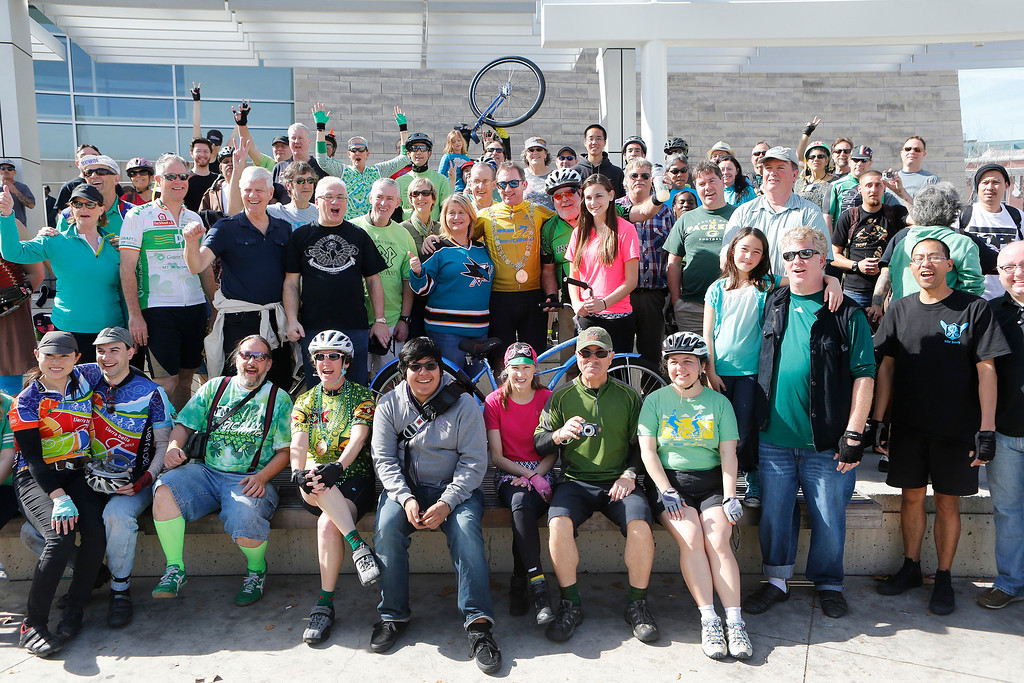 . Dublin Lord Mayor Oisín Quinn poses for a portrait with cyclists after a bike ride in San Jose, Calif., on Sunday, March 9, 2014. Quinn joined cyclists on a seven-mile bicycle ride through the city as part of San Jose-Dublin Sister City Program festivities. Quinn is known for having championed the effort to create a bike sharing service in Dublin much akin to the similar service that\'s sprang up in San Jose and other Bay area cities. (Jim Gensheimer/Bay Area News Group)