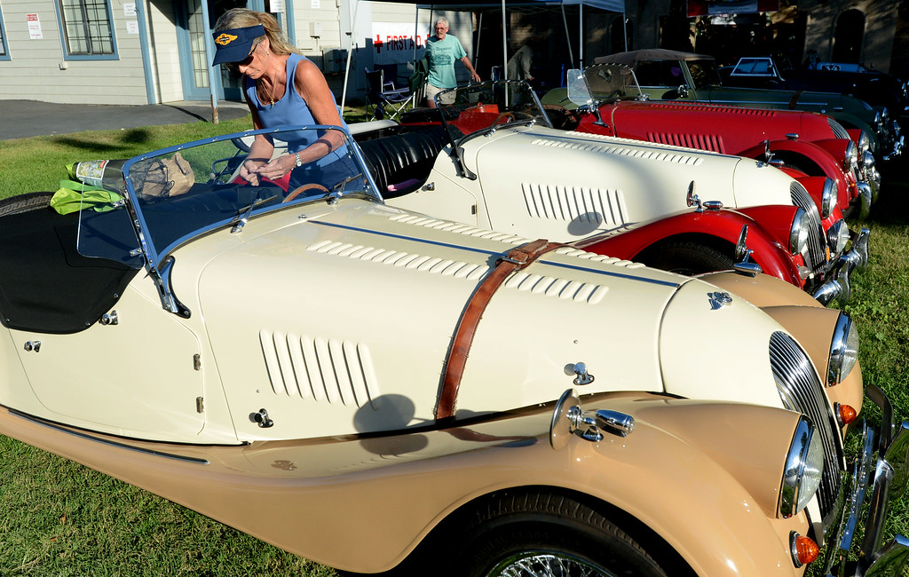 . Susan Loesche, of Danville, gets ready to drive her 1968 Morgan +4 roster home after displaying the car with other Morgans during the 148th annual Scottish Highland Gathering and Games held at the Alameda County Fairgrounds in Pleasanton, Calif., on Saturday, Aug. 13, 2013. The Scottish Highland Gathering and Games continues on Sunday. (Doug Duran/Bay Area News Group)