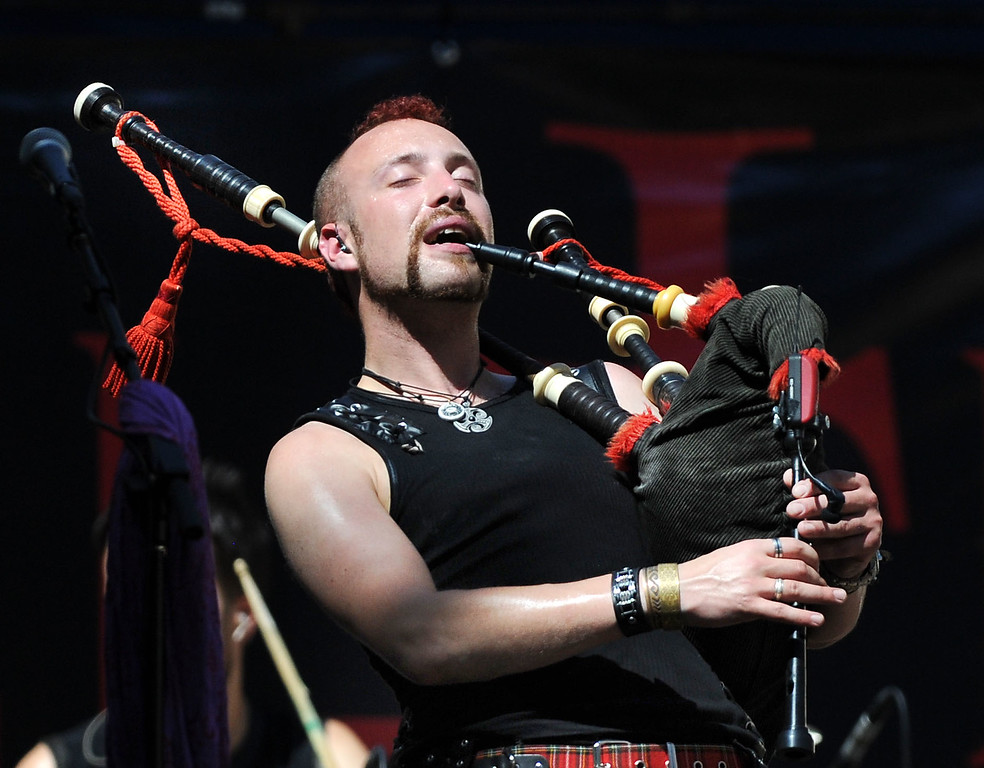 ". Duncan Knight, with the band ""Celtica Pipe Rock!\"" plays during the 148th annual Scottish Highland Gathering and Games held at the Alameda County Fairgrounds in Pleasanton, Calif., on Saturday, Aug. 13, 2013. The Scottish Highland Gathering and Games continues on Sunday. (Doug Duran/Bay Area News Group)"