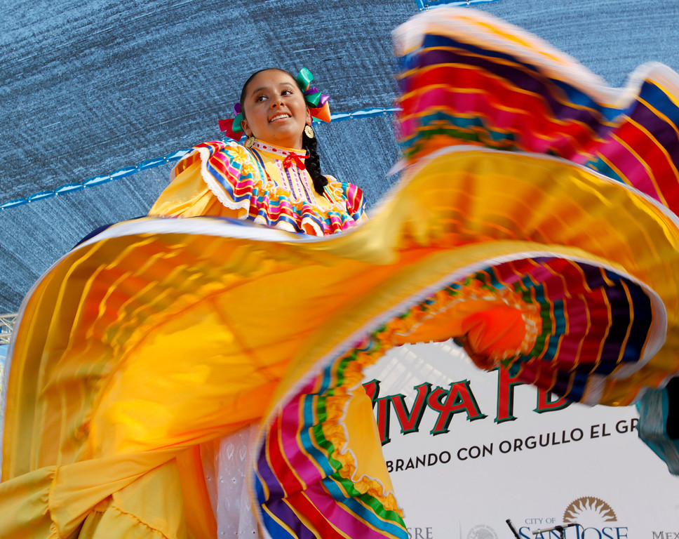 . Adela Contreras, 16,  of Folklorico Nacional Mexicano performs at Â¡VivaFest!/El Grito music and cultural festival celebrating Mexico\'s Independence Day at Discovery Meadow in San Jose, Calif., on Sunday, Sept. 15, 2013. (Josie Lepe/Bay Area News Group)
