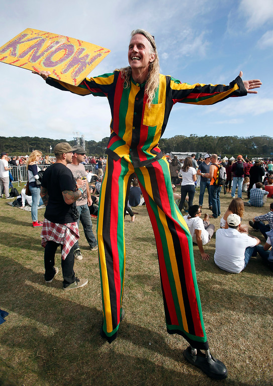 . Paul Brummet walks on stilts near the Land\'s end stage during day three of the Outside Lands music festival at Golden Gate Park in San Francisco, Calif., on Sunday, Aug. 10, 2014. (Jane Tyska/Bay Area News Group)