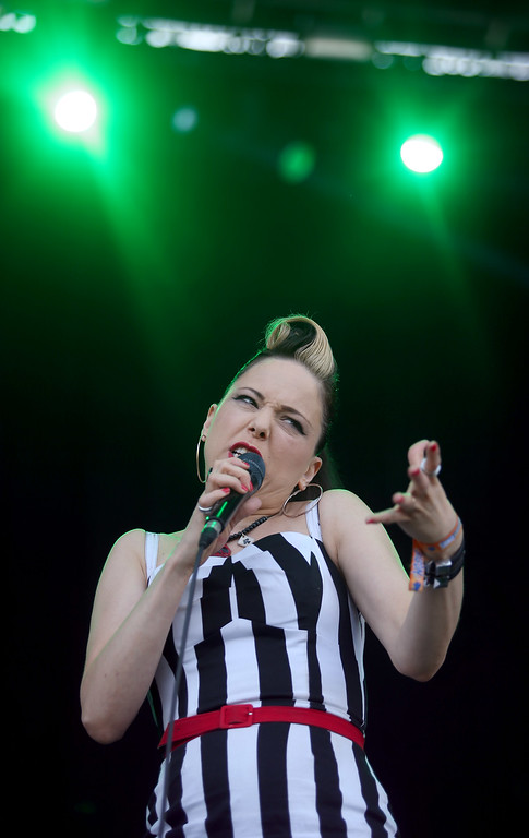 . Rockabilly artist Imelda May, of Dublin, Ireland, performs on the Land\'s End stage during day three of the Outside Lands music festival at Golden Gate Park in San Francisco, Calif., on Sunday, Aug. 10, 2014. (Jane Tyska/Bay Area News Group)