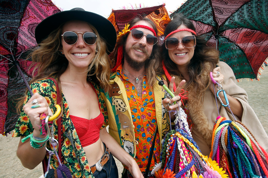 . Vera Claire, Alvaro Ramirez III and Emily Joy, of Gypsy Halos headbands, left to right, attend day three of the Outside Lands music festival at Golden Gate Park in San Francisco, Calif., on Sunday, Aug. 10, 2014. (Jane Tyska/Bay Area News Group)