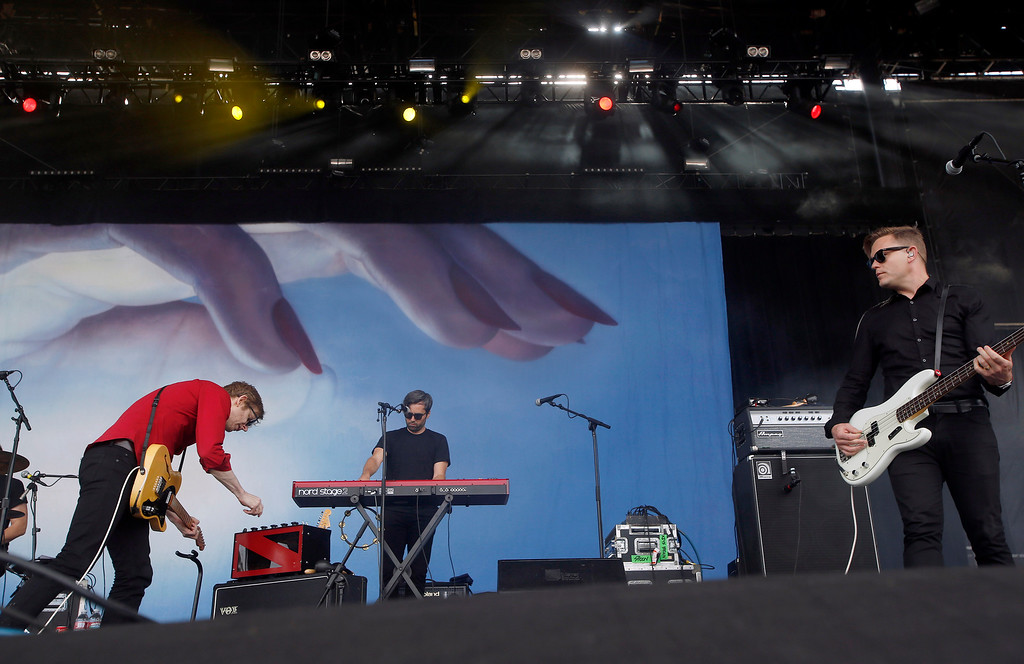 . Spoon performs on the Land\'s End stage during day three of the Outside Lands music festival at Golden Gate Park in San Francisco, Calif., on Sunday, Aug. 10, 2014. (Jane Tyska/Bay Area News Group)
