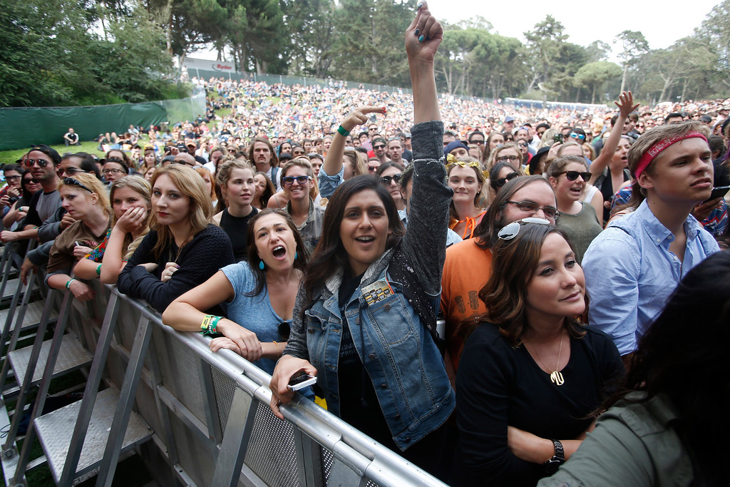 . Fans react as Jenny Lewis performs on the Sutro stage during day three of the Outside Lands music festival at Golden Gate Park in San Francisco, Calif., on Sunday, Aug. 10, 2014. (Jane Tyska/Bay Area News Group)