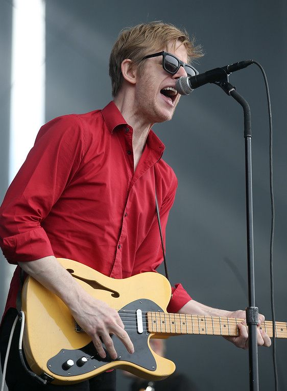 . Spoon lead singer Britt Daniel performs on the Land\'s End stage during day three of the Outside Lands music festival at Golden Gate Park in San Francisco, Calif., on Sunday, Aug. 10, 2014. (Jane Tyska/Bay Area News Group)
