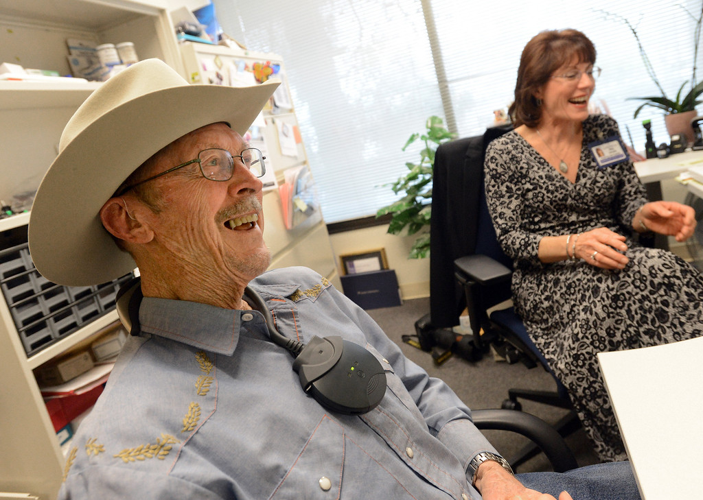 . Marvin Johnson, 90, of Walnut Creek, has a laugh when asked if he has trouble hearing his wife as he has his new hearing aids verified by supervisor audiologist Meg Devane at the Kaiser Permanente Hearing Aid Center in Walnut Creek, Calif., on Tuesday, March 4, 2014. Hearing loss is a part of aging, but practical steps can be taken to slow the process. Technology can help doctors treat hearing loss both with high-tech hearing aids and in some cases, surgery. (Dan Honda/Bay Area News Group)