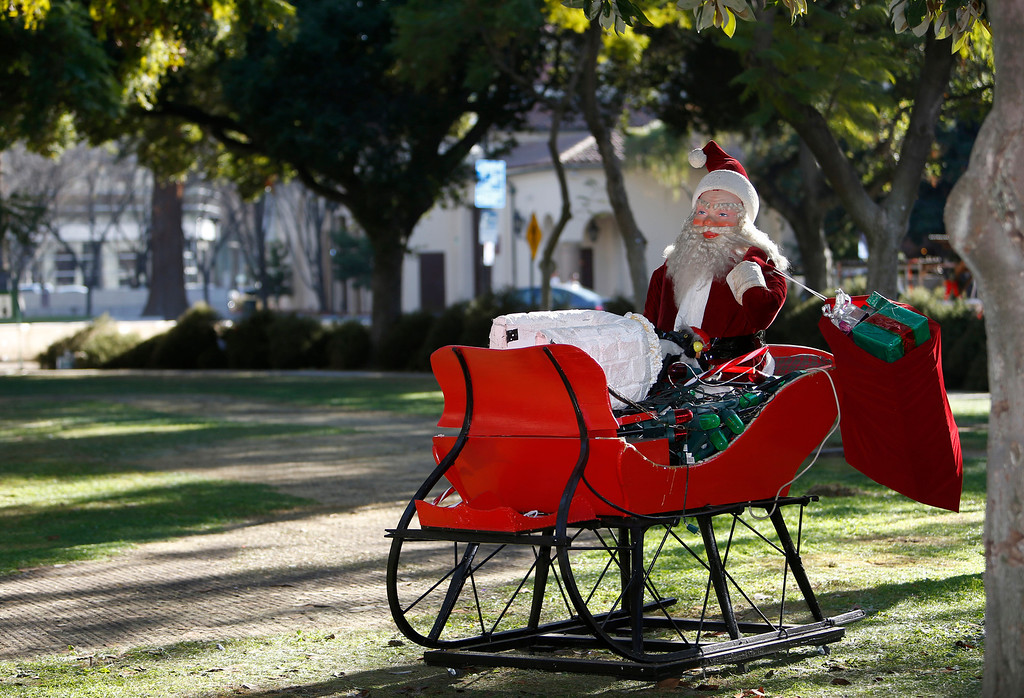 . Christmas in the Park cleanup has began and Santa is waiting for a ride in downtown San Jose, Calif., on Saturday, Jan. 4, 2014. (Josie Lepe/Bay Area News Group)