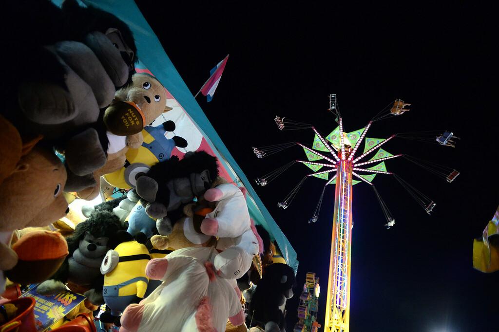 . Fairgoers ride the Vertigo carnival ride at the Alameda County Fair in Pleasanton, Calif., on Friday, June 20, 2014. (Doug Duran/Bay Area News Group)