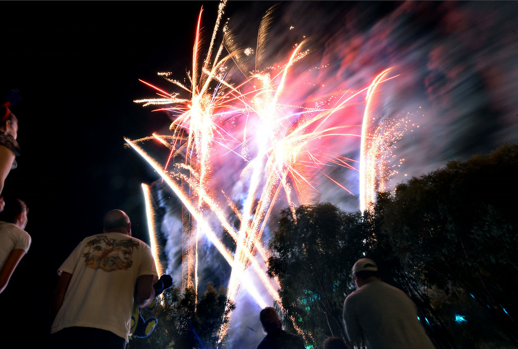 . The nightly fireworks show at the Alameda County Fair in Pleasanton, Calif., on Thursday, July 3, 2014. (Doug Duran/Bay Area News Group)