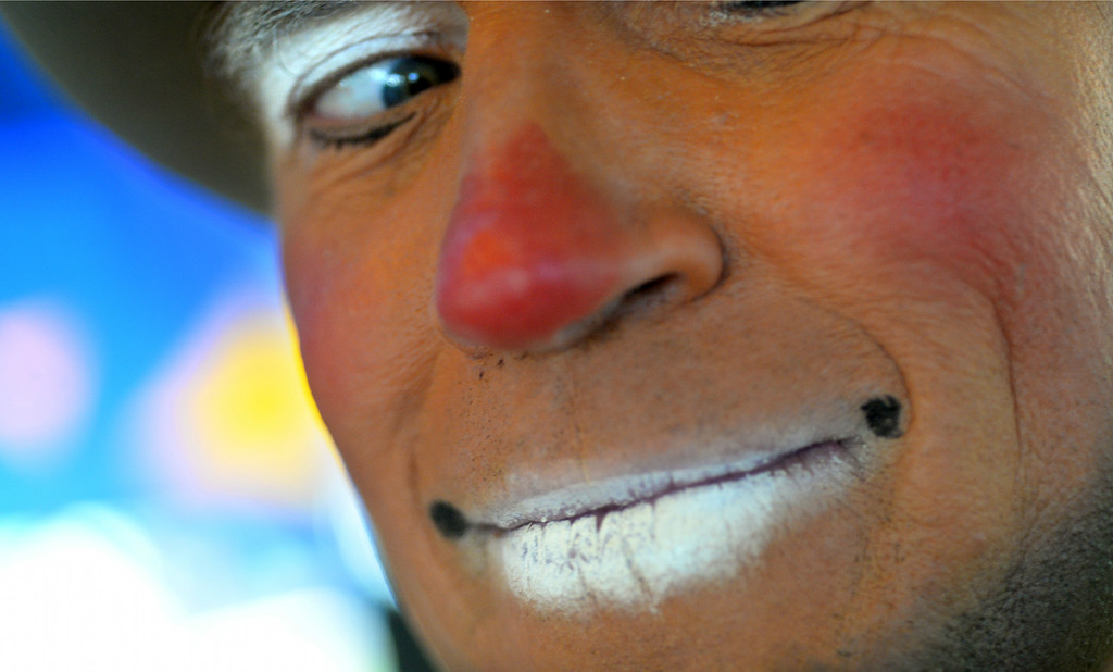 """. Todd Victor of Santa Rosa, who is also known as \""""Topper Todd,\"""" the clown, has his photo taken at the Alameda County Fair on Wednesday, July 2, 2014. (Doug Duran/Bay Area News Group)"""