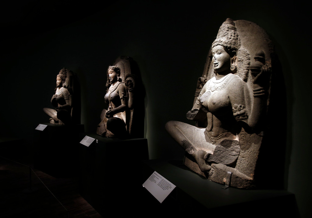 """. A trio of yogini sculptures are part of the new exhibit  \""""Yoga: The Art of Transformation\"""" at the Asian Art Museum Wednesday morning, Feb. 19, 2014, in San Francisco, Calif. (Karl Mondon/Bay Area News Group)"""