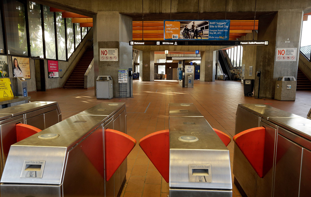 . The Fruitvale BART station is closed due to a worker strike Monday, July 1, 2013, in Oakland, Calif. (AP Photo/Ben Margot)