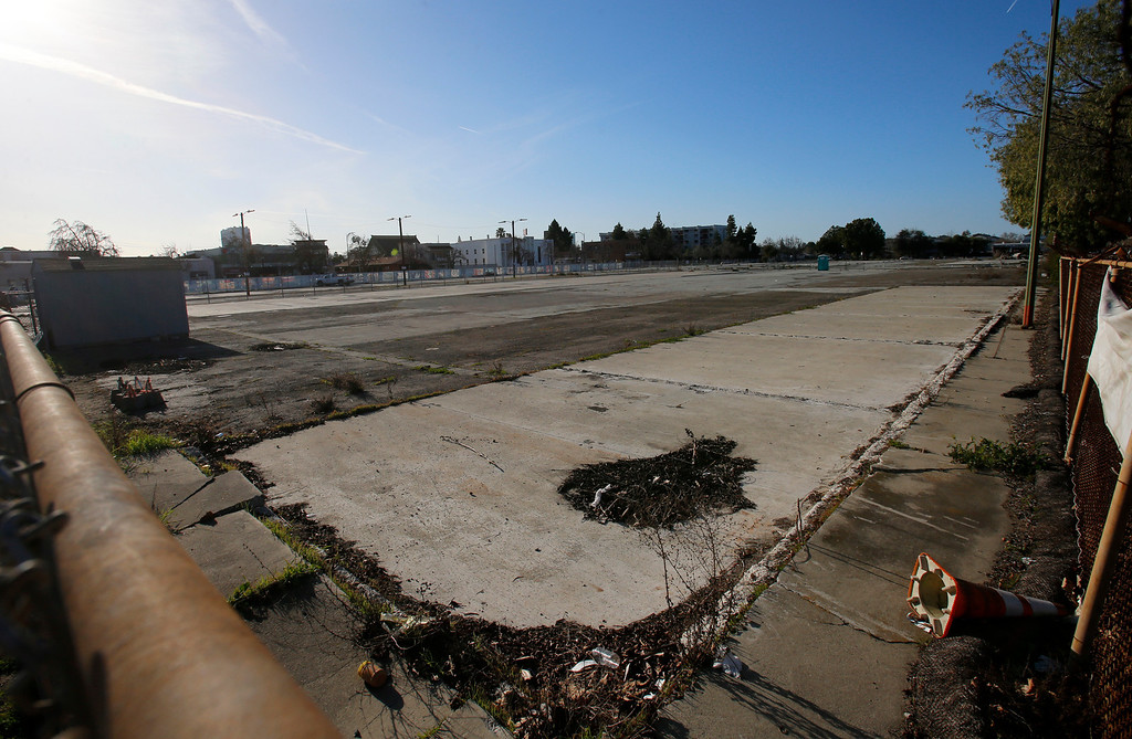 . An empty lot at the corner of N. 7th St. and Jackson St. looking north in Japantown in San Jose, Calif., on Monday, Feb. 25, 2013.  After years of on-again, off-again plans for development of five acres of the city�s former Corporation Yard in Japantown, the San Jose City Council on Tuesday is expected to approve a term sheet with a developer in an effort to revitalize Japantown with housing, retail, an urban plaza, performance space and strong historical connection.  (Nhat V. Meyer/Staff)