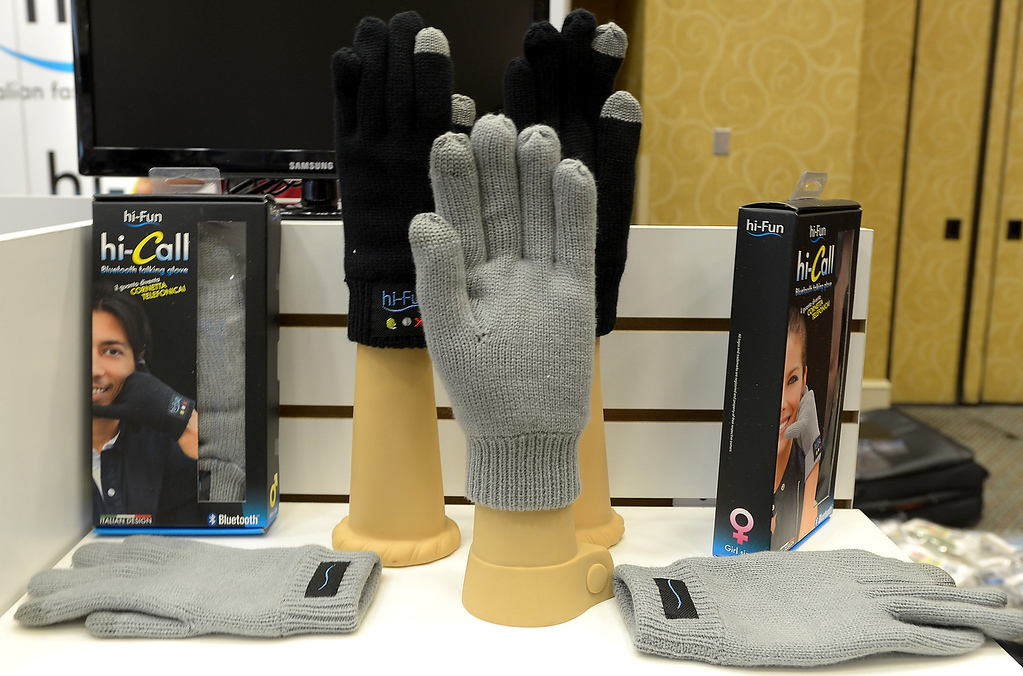 . Blue tooth gloves are displayed by hi-Call of Italy during the 2013 International CES at the Las Vegas Convention Center on January 8, 2013 in Las Vegas, Nevada. (JOE KLAMAR/AFP/Getty Images)