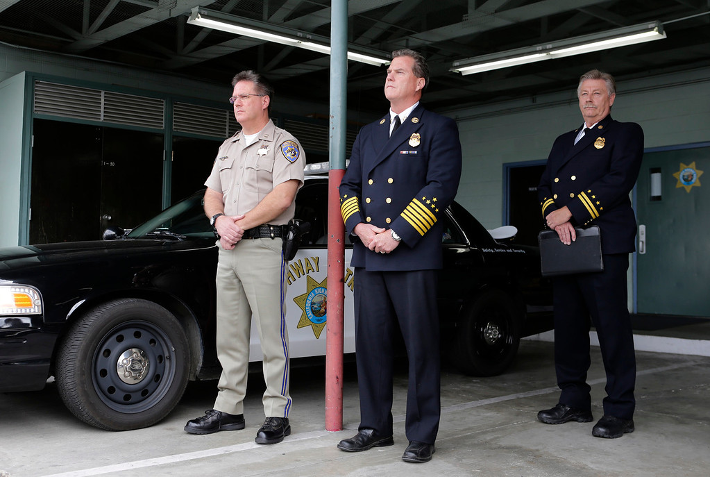 . Mike Maskarich, Commander Redwood City, CHP, Michael Keefe, Chief, Foster City Fire Department and John Mapes, Foster City Fire Department Investigator attend a press conference to discuss last Saturday\'s deadly limousine fire at the CHP Headquarters in Redwood City, Calif. on Monday, May 6, 2013. Five woman including a bride died when their limousine became engulfed in flames on the San Mateo Bridge while on their way to a bridal shower. Four women and the driver were able to escape the flames.  (Gary Reyes/ Bay Area News Group)