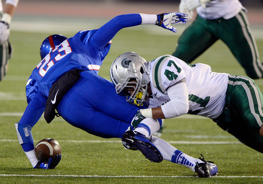 . <p>7. D.J. MOFFITT � LINEBACKER � DE LA SALLE</p> Moffitt (47) tackles Folsom\'s Phillip Carter (23) in the second quarter of their Northern California Open Division regional game at Hornet Stadium at California State University in Sacramento, Calif. on Saturday, December 8, 2012. (Jose Carlos Fajardo/Staff)