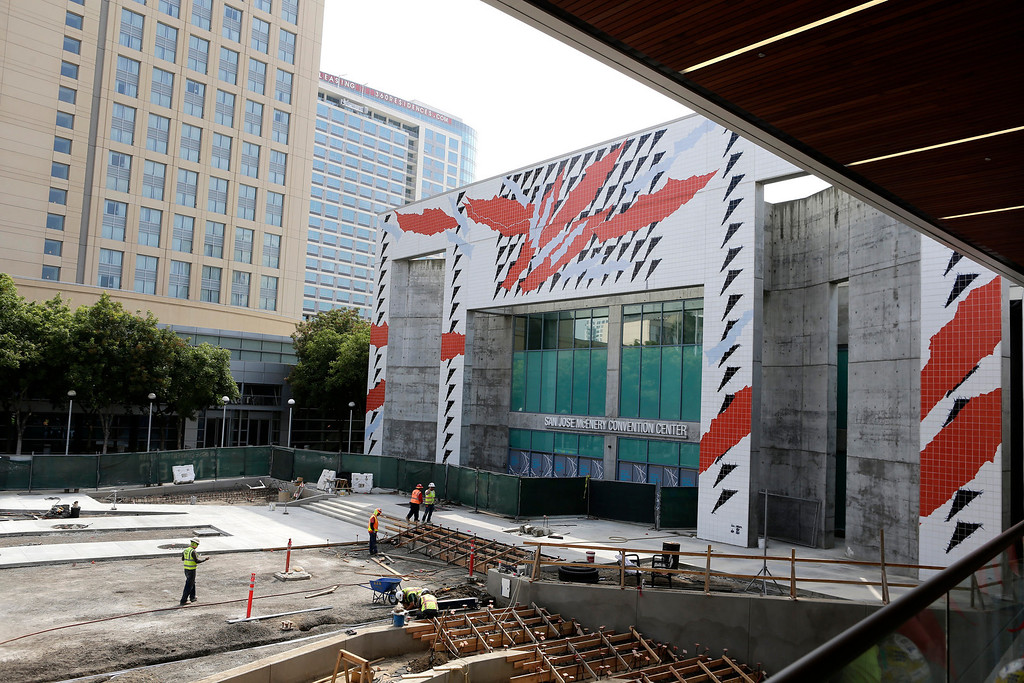. The balcony of the Grand Ballroom overlooks the Plaza Terrace and front entrance of the newly expanded and renovated San Jose McEnery Convention Center in San Jose, Calif. on Tuesday, Aug. 6, 2013.  (Gary Reyes/Bay Area News Group)