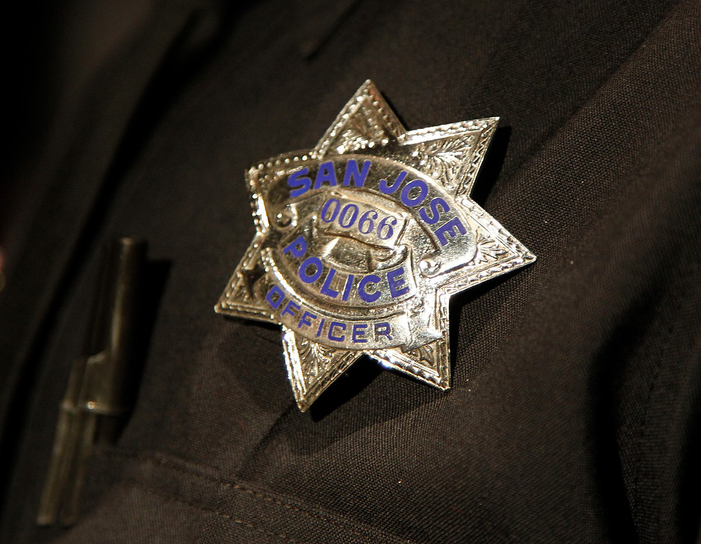 . The badge of San Jose Police Officer Mark Minten after he graduated form the San Jose Police Academy in San Jose, Calif. on Friday, March 15, 2013.   (LiPo Ching/Staff)