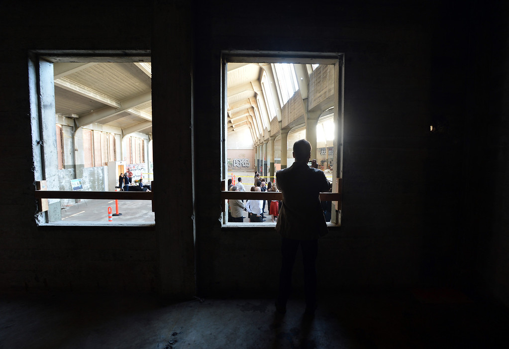 . Visitors get a sneak peek at the interior of what will be part of the new Berkeley Art Museum/Pacific Film Archive in Berkeley, Calif. on Tuesday, April 30, 2013. (Kristopher Skinner/Bay Area News Group)