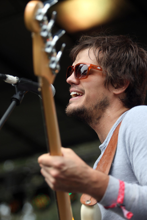 . Houndmouth bassist Zak Appleby performs on the Panhandle stage during the 6th annual Outside Lands Music and Arts Festival in Golden Gate Park in San Francisco, Calif., on Friday, Aug. 9, 2013. (Jane Tyska/Bay Area News Group)
