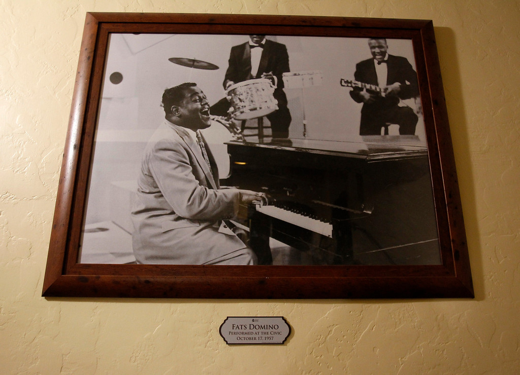. A photograph of Fats Domino who performed at the San Jose Civic in 1957.  Photographed before Jackson Browne performed at the San Jose Civic in downtown San Jose, Calif. on Tuesday, Jan. 22, 2013.  This specific photograph is not necessarily his performance at the Civic but a representation of that performance.  (Nhat V. Meyer/Staff)