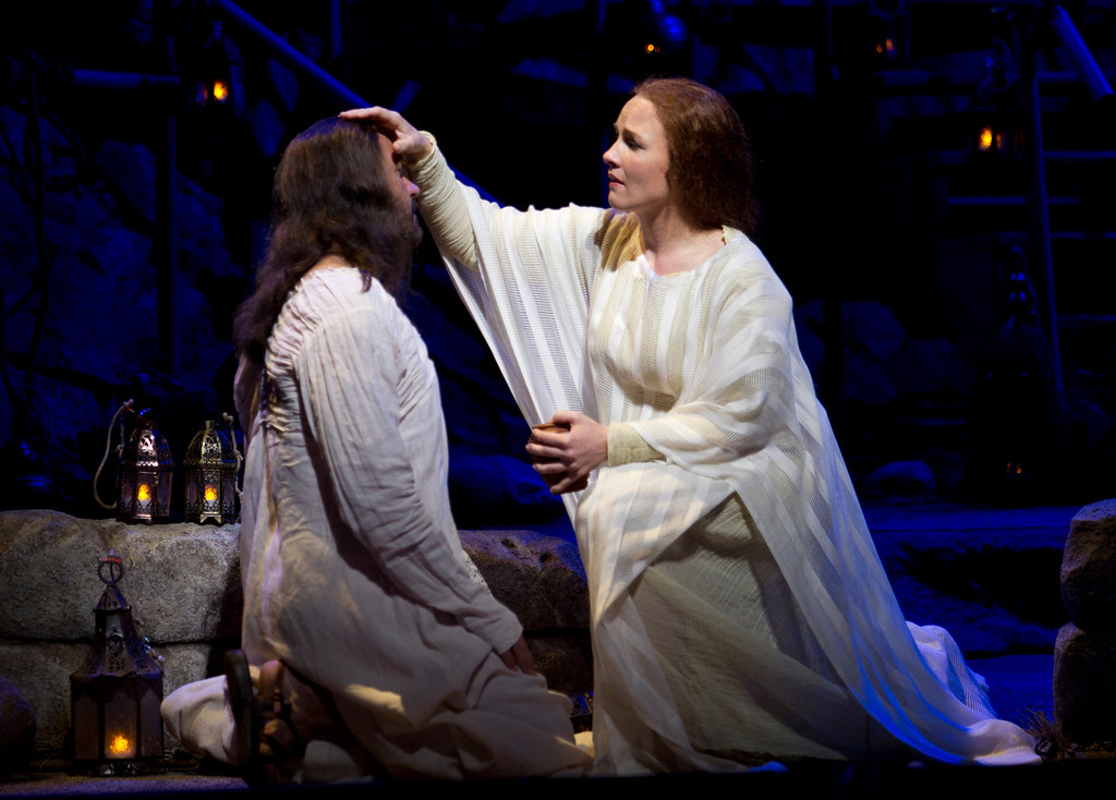 """. Mary Magdalene (Sasha Cooke), right, anoints Yeshua (Nathan Gunn) with oil, in a scene from San Francisco Opera\'s world premiere of Mark Adamo\'s \""""The Gospel of Mary Magdalene,\"""" Sunday, June 16, 2013 at the War Memorial Opera House in San Francisco. (D. Ross Cameron/Bay Area News Group)"""