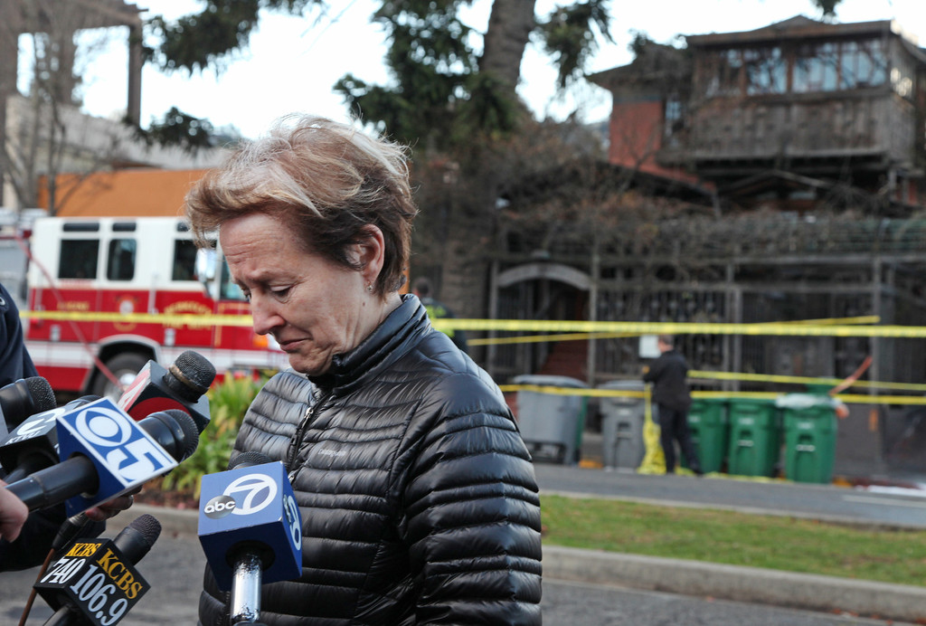 . Alice Waters becomes emotional as she talks about the early morning fire at her restaurant Chez Panisse in Berkeley, Calif. on Friday , March 8, 2013. Officials are calling the fire, which started under the front porch, suspicious. (Laura A. Oda/Staff)