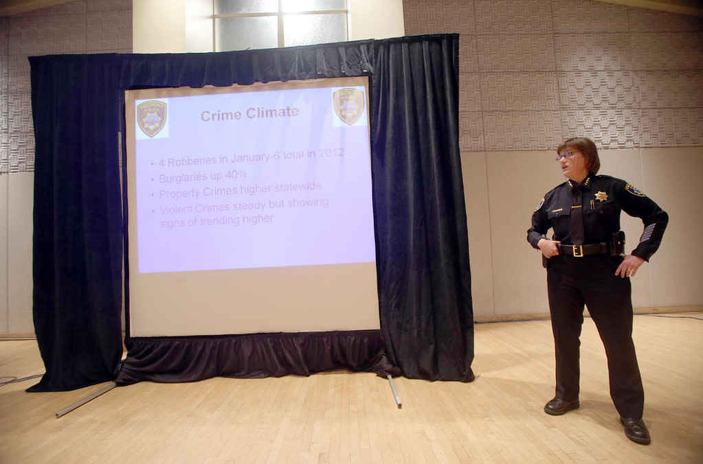 . Piedmont Police Chief Rikki Goede speaks during a town hall meeting at the Piedmont Veterans Hall in Piedmont, Calif., on Tuesday, Feb. 12, 2013. (Jane Tyska/Staff)