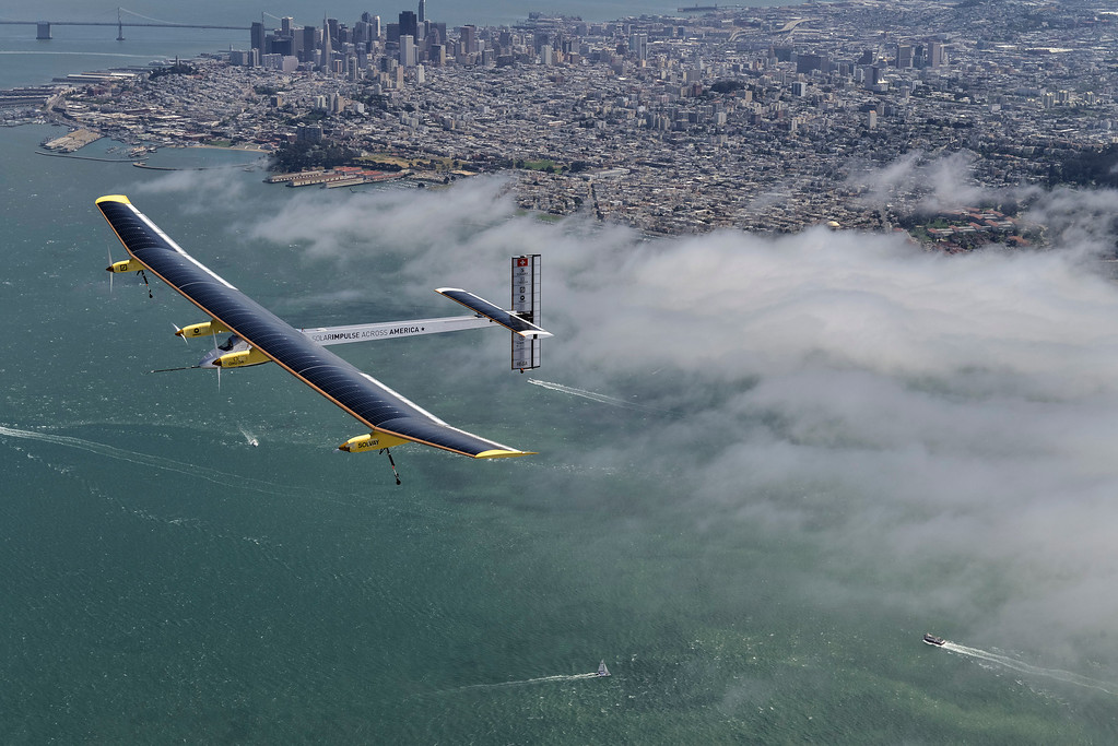 . San Francisco is seen in the distance as the Solar Impulse takes a test flight from Moffett Field in Mountain View, Calif., over the Bay Area on Tuesday, April 23, 2013. (Jean Revillard/Rezo/Solar Impulse/Polaris)