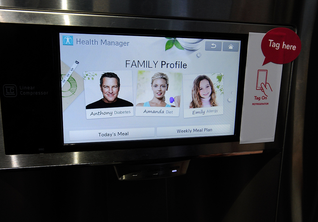 . The door display of LG\'s smart refrigerator with Smart ThinQ technology is seen at the 2013 International CES at the Las Vegas Convention Center on January 8, 2013 in Las Vegas, Nevada. (Photo by David Becker/Getty Images)