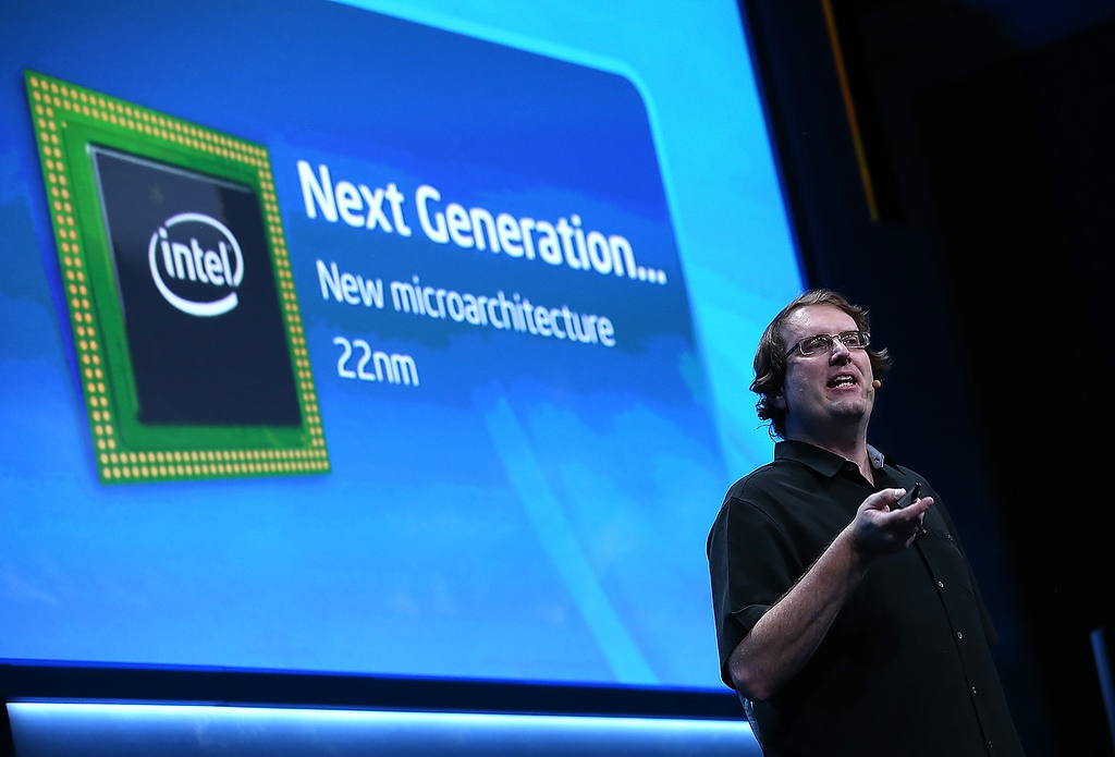 . Mike Bell, Intel Vice President, General Manager of Mobile and Communications Group, speaks during an Intel press conference at the 2013 International CES at the Mandalay Bay Convention Center on January 7, 2013 in Las Vegas, Nevada. (Photo by Justin Sullivan/Getty Images)
