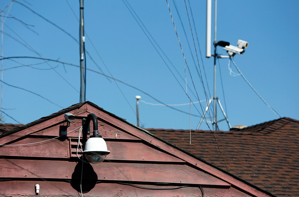 . Video cameras sits atop Everett Basham\'s house on Humbolt Ave., in Santa Clara, Calif. on Wednesday, Feb. 13, 2013.   (LiPo Ching/Staff)