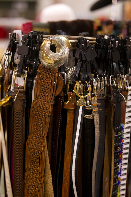 . Vintage belts, among the items for purchase at the annual White Elephant Sale, at the Oakland Museum Women\'s Board 96,000-square-foot warehouse in Oakland, Calif., photographed Tuesday, Jan. 15, 2013. (D. Ross Cameron/Staff)