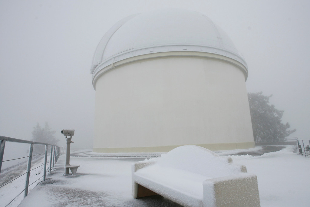 . Snow is a frequent visitor to the Lick Observatory as it was blanketed on Jan. 6, 2008. (Gary Reyes/Mercury News archives)